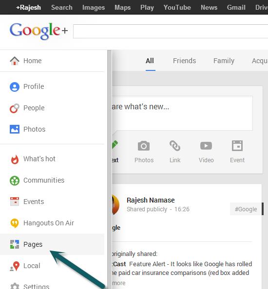 Создать страницу Google Plus