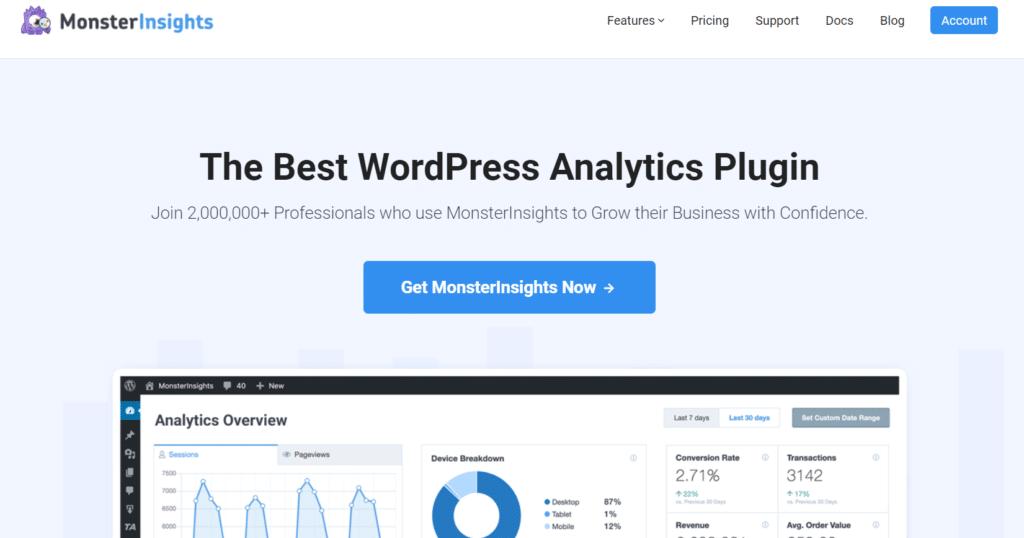 monsterinsights лучший плагин Google Analytics для wordpress